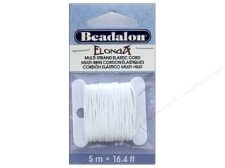cording: Beadalon Elonga Stretchy Bead Stringing Cord .7 mm White 16.4 ft.