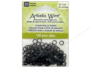 beading & jewelry making supplies: Artistic Wire Chain Maille Jump Rings 20 ga. 11/64 in. Black 150 pc.