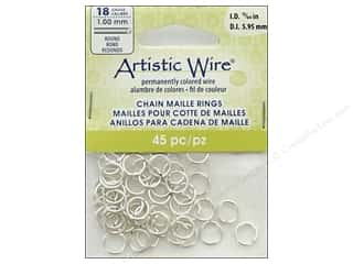beading & jewelry making supplies: Artistic Wire Chain Maille Jump Rings 18 ga. 15/64 in. Silver 45 pc.
