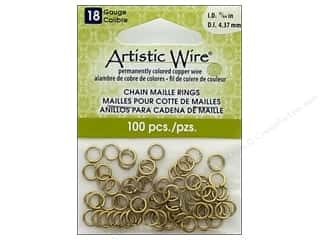 beading & jewelry making supplies: Artistic Wire Chain Maille Jump Rings 18 ga. 11/64 in. Brass 100 pc.