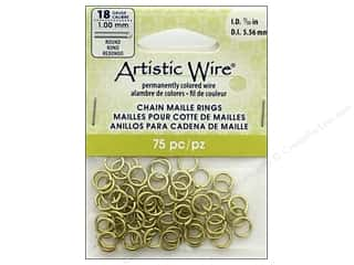 beading & jewelry making supplies: Artistic Wire Chain Maille Jump Rings 18 ga. 7/32 in. Brass 75 pc.