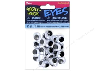 Darice Eyes Sticky Back Round 15mm Black/White 25pc