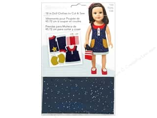 "Simplicity Doll Clothes 18"" Jumper & Bag Navy/Red"