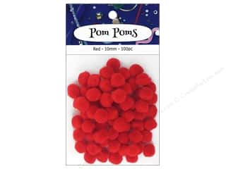 craft & hobbies: PA Essentials Pom Poms 3/8 in. Red 100 pc.