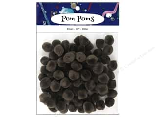 craft & hobbies: PA Essentials Pom Poms 1/2 in. Brown 100 pc.