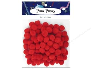craft & hobbies: PA Essentials Pom Poms 1/2 in. Red 100 pc.