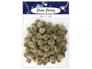 PA Essentials Pom Poms 1/2 in. Beige 100 pc.