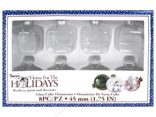 "Darice Holiday Glass Ornament Cube 1.75"" 8 pc"