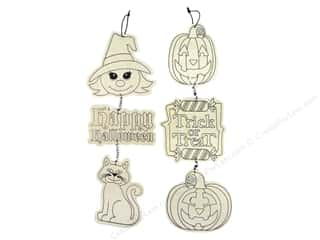 Darice Wood Halloween Ornament with Wire Assorted