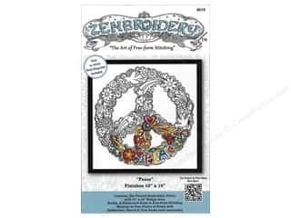 decorative bird': Design Works Zenbroidery Stamped Embroidery Fabric Kit 10 x 10 in. Peace
