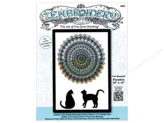 Design Works Zenbroidery Stamped Embroidery Fabric Kit 10 x 16 in. Cat Mandala