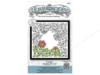 Design Works Zenbroidery Stamped Embroidery Fabric Kit 10 x 10 in. Garden