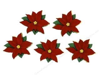 Buttons: Jesse James Dress It Up Embellishments Holiday Red Poinsettias