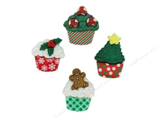 jesse james dress it up Christmas buttons: Jesse James Dress It Up Embellishments Christmas Cupcakes