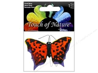 floral & garden: Midwest Design Feather Butterfly 2 3/4 in. Orange & Black 1 pc.