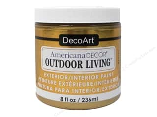 DecoArt Americana Decor Outdoor Living Exterior/Interior Paint 8 oz. Metallics Brass