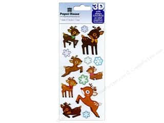stickers: Paper House Sticker 3D Puffy Reindeer