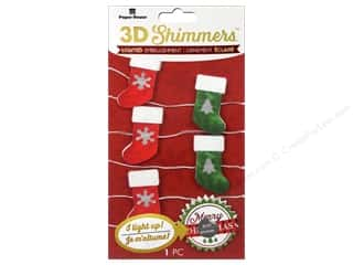 stickers: Paper House Sticker 3D LED Shimmer Stocking Garland