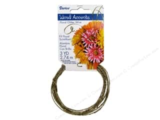 beading & jewelry making supplies: Darice Craft Wire Floral Glitter 9' Gold