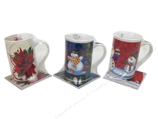Darice Holiday Mug 12oz With Trivet 3 Styles Assorted