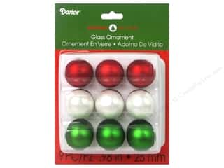 "Darice Holiday Ornament 1"" Red White Green 9pc"