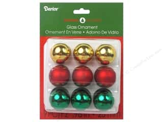 "Clearance: Darice Holiday Ornament 1"" Red Gold Green 9pc"