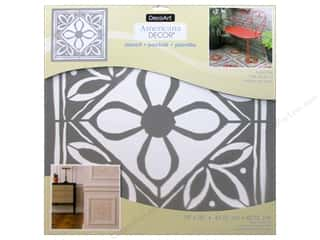 craft & hobbies: DecoArt Americana Decor Stencil 18 x 18 in. Lotus Tile