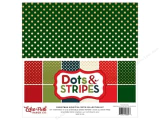 Echo Park 12 x 12 in. Collection Kit Dots & Stripes Christmas Gold Foil
