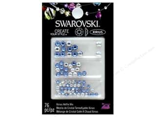 beading & jewelry making supplies: Cousin Swarovski Hotfix Rhinestones Mix 76 pc. Moonlight Air Blue & Opal