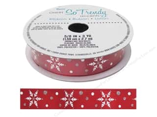 "sewing & quilting: Darice Ribbon 5/8"" Snowflake Red/White 3yd"