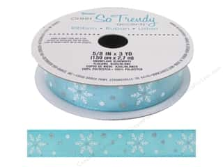 "christmas ribbon: Darice Ribbon 5/8"" Snowflake Blue/White 3yd"