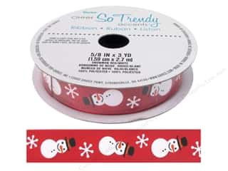 "christmas ribbon: Darice Ribbon 5/8"" Snowman Red/White 3yd"