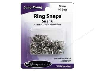 Snapsource Open Prong Ring Snap Fasteners Size 16 Silver