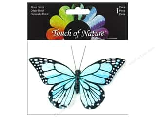 floral & garden: Midwest Design Butterfly 4.5 in. Monarch With Clip Aqua