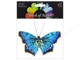 decorative floral: Midwest Design Butterfly 3.5 in. Natural With Clip Teal