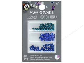 beading & jewelry making supplies: Cousin Swarovski Flatback Rhinestone Mix 80 pc. Sea Blues