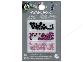 beading & jewelry making supplies: Cousin Swarovski Flatback Rhinestone Mix 80 pc. Pinks Black