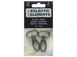 "Tim Holtz Metallic Mixative: Coats & Clark Tim Holtz Eclectic Elements Swivel Latch #2 .7"" Gunmetal 2pc"