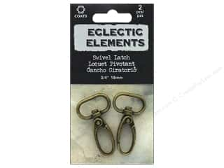 "Tim Holtz Metallic Mixative: Coats & Clark Tim Holtz Eclectic Elements Swivel Latch #2 .7"" Antique Brass 2pc"