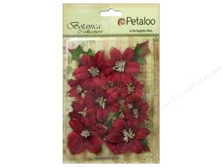 Petaloo Botanica Collection Holiday Regal Gold Poinsettia Red