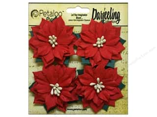 Petaloo Darjeeling Holiday Poinsettias Medium Red