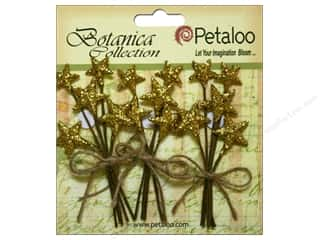 Petaloo Botanica Collection Holiday Pick Glitter Star Gold