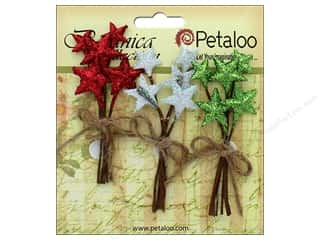 Petaloo Botanica Collection Holiday Pick Glitter Star Red/White/Green