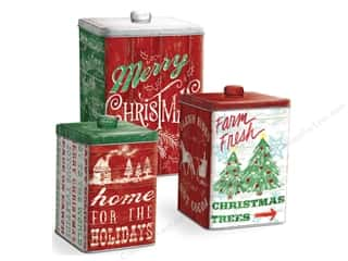 Punch Studio Nesting Tin Canisters Square Homestead Holidays Set Of 3