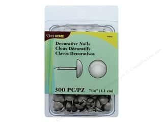 craft & hobbies: Dritz Decorative Nails 7/16 in. Round Smooth Silver 300 pc.