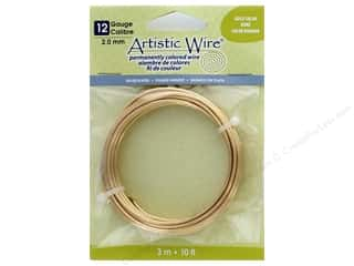 beading & jewelry making supplies: Artistic Wire 12 ga. Copper Wire 10 ft. Silver Plated Gold