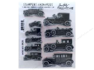 Tim Holtz Cling Mount Stamp Set 10 pc. Vintage Auto