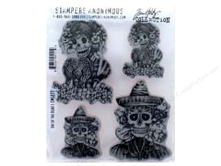 halloween stamp: Tim Holtz Cling Mount Stamp Set 4 pc. Day Of The Dead 1