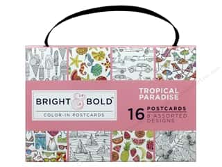 gifts & giftwrap: Darice Bright & Bold Color-In Postcards - Tropical Paradise
