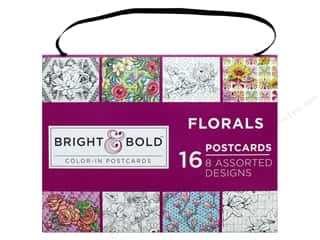 "Darice Bright & Bold Coloring Postcards 6""x 8"" Florals 16pc"